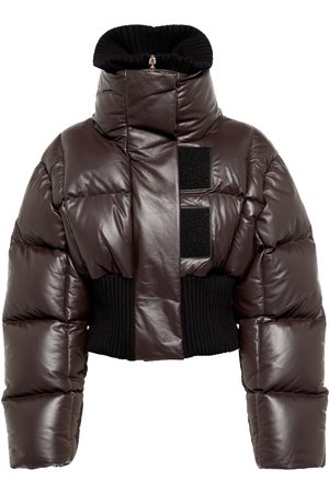 Givenchy Women Leather Jackets - Cropped leather down jacket