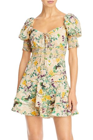 ALICE+OLIVIA Crawford Sweetheart Tiered Floral Mini Dress