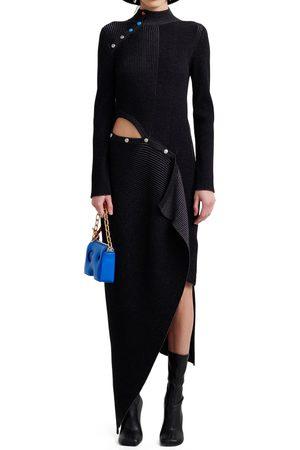 OFF-WHITE Black Snap Asymmetrical Dress