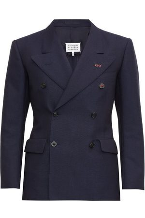 Maison Margiela Topstitched Double-breasted Twill Blazer - Mens - Navy