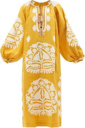 VITA KIN Shalimar Floral-appliqué Linen Midi Dress - Womens - Multi