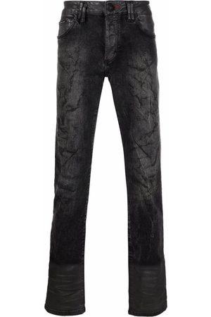 Philipp Plein Men Slim - Skull-embroidered slim-fit jeans