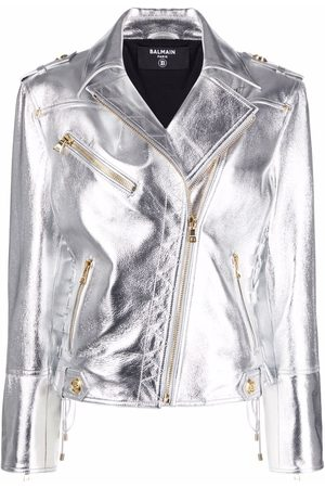 Balmain Metallic-effect biker jacket