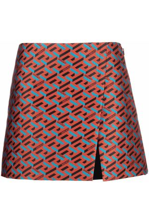 Versace Women Mini Skirts - La Greca high-waist miniskirt
