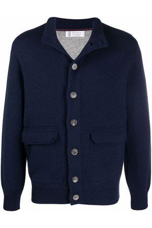 Brunello Cucinelli Men Cardigans - Knitted high-neck cardigan