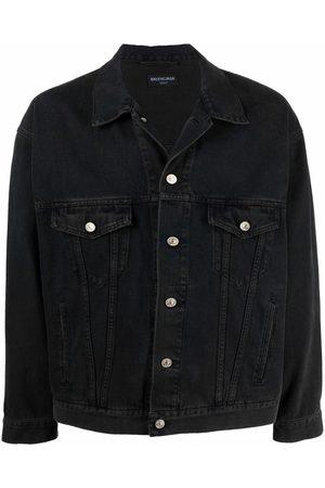 Balenciaga Men Denim Jackets - Spray paint logo denim jacket - Grey