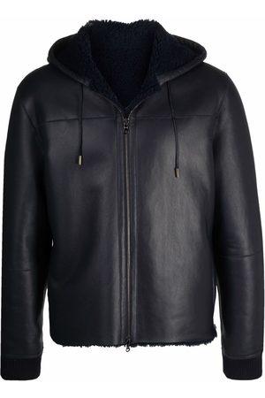 DESA Men Leather Jackets - Reversible shearling hooded jacket