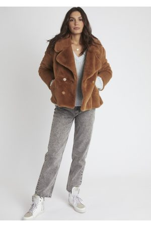 Berenice Women Blazers - Marta Faux Fur Jacket - Chocolat