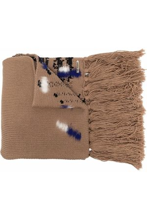 Les Hommes Men Scarves - Textured-finish virgin wool scarf