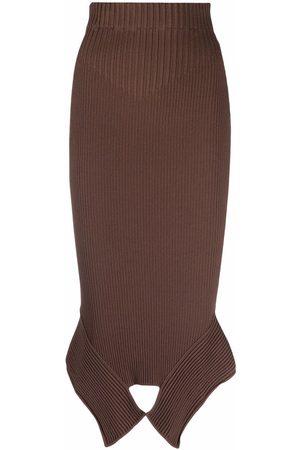 Adamo High-waist asymmetric-hem skirt
