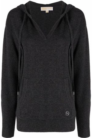 Michael Kors Logo-plaque knitted hoodie - Grey