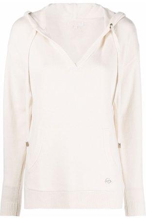 Michael Michael Kors Women Hoodies - Logo-plaque knitted hoodie - Neutrals