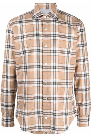 ELEVENTY Men Long sleeves - Check-print long-sleeve shirt - Neutrals