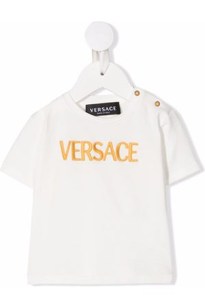 VERSACE Embroidered logo stretch-cotton T-shirt