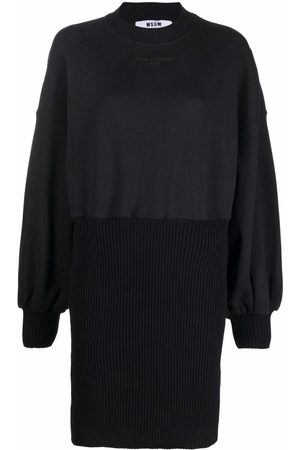 Msgm Women Casual Dresses - Logo-embroidered sweater dress