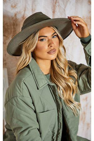 PRETTYLITTLETHING Women Hats - Khaki Faux Leather Twist Band Fedora Hat