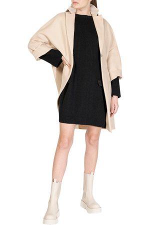 Semi Couture Women Asymmetrical Dresses - ASYMMETRICAL WOOL MIDI-DRESS