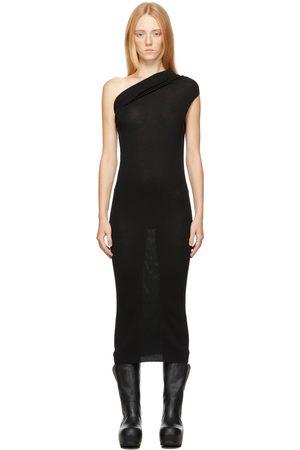 Rick Owens Women Midi Dresses - SSENSE Exclusive Black Virgin Wool Ribbed Tank Dress