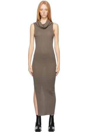 Rick Owens Women Midi Dresses - Grey Virgin Wool Ribbed Tank Dress