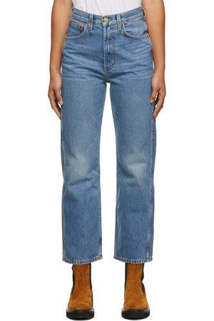 B SIDES Women High Waisted - Blue Plein High Straight Jeans