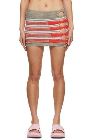 Max Mulder Women Mini Skirts - SSENSE Exclusive Grey & Red Sunstone Miniskirt
