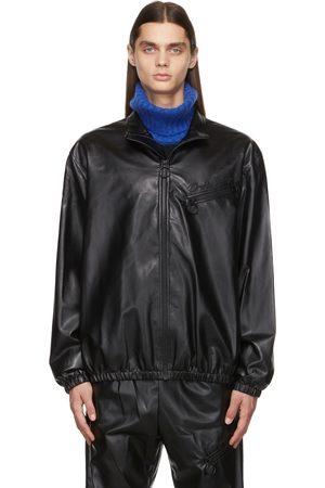 Opening Ceremony Men Leather Jackets - Black Faux-Leather Track Jacket