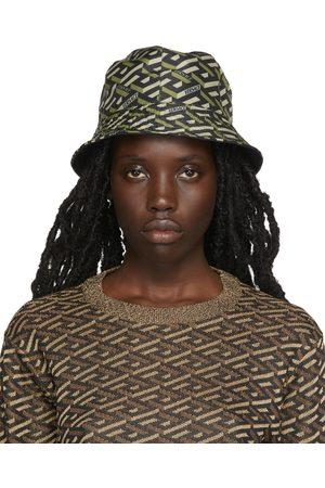 VERSACE Women Hats - Black Monogram Print Bucket Hat
