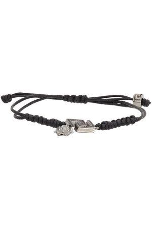VERSACE Men Bracelets - Black La Greca Cord Bracelet