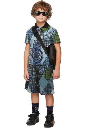 VERSACE Kids Blue & Black Barocco Argyle Polo