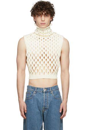 VALENTINO Men Tank Tops - Beige Knit Cut-Out Vest