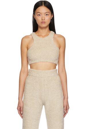 Palm Angels Women Tank Tops - Off-White Knit Fleece Tank Top