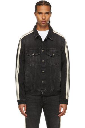 Palm Angels Men Denim Jackets - Black Denim Wash Track Jacket
