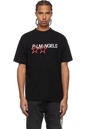 Palm Angels Men T-shirts - Black Racing Star T-Shirt