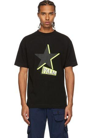 Palm Angels Men T-shirts - Black & Green Rockstar T-Shirt
