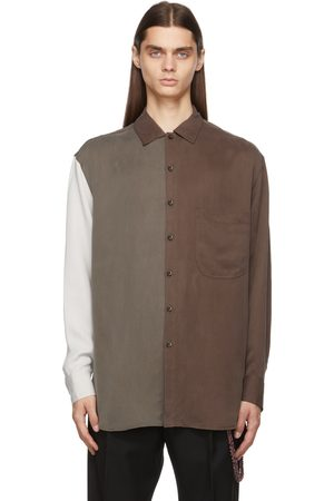 SONG FOR THE MUTE Brown & White Paneled Shirt