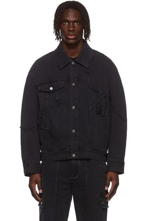 Chen Peng Men Denim Jackets - Black Coastline Denim Jacket