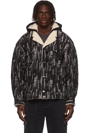 Chen Peng Men Denim Jackets - Black & Grey Pattern Denim Jacket