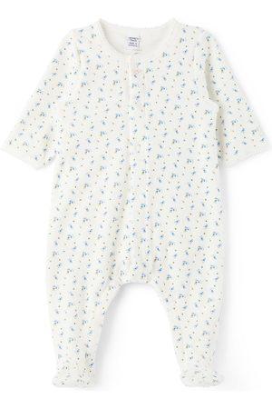 Petit Bateau Rompers - Baby White Organic Cotton Velour Floral Bodysuit
