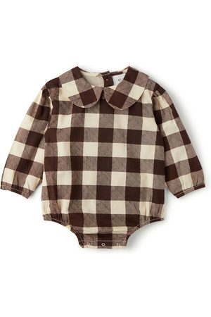 Wynken Baby Brown & Off-White Gigham Pan Collar Romper