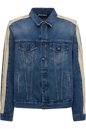 Palm Angels Men Denim Jackets - Indigo Cotton Denim Track Jacket