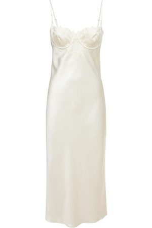 FLEUR DU MAL Women Casual Dresses - Lily Silk Slip Satin Midi Dress