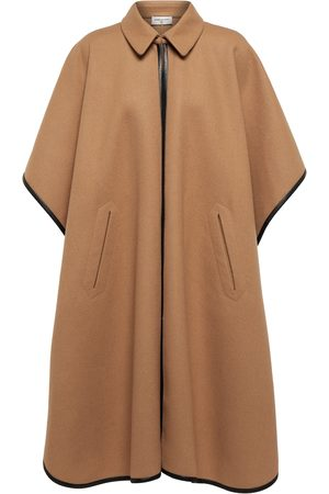 Saint Laurent Leather-trimmed cashmere and wool cape