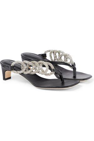 CHRISTOPHER ESBER Embellished leather thong sandals