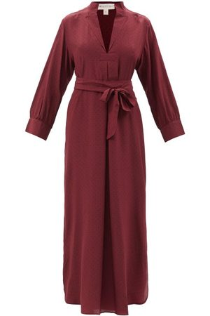 WIGGY KIT Women Midi Dresses - St Germain Polka-dot Silk-crepe Midi Dress - Womens - Burgundy Navy