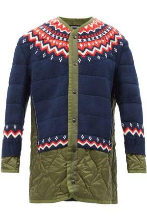 JUNYA WATANABE Fair Isle Wool-panelled Quilted-nylon Coat - Womens - Khaki Multi
