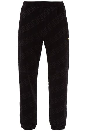 Fendi Men Sweatpants - Ff-jacquard Cotton-blend Velvet Track Pants - Mens
