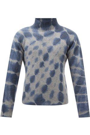THE ELDER STATESMAN Radiate Tie-dye Cashmere Roll-neck Sweater - Mens - Navy Print