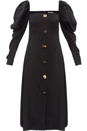 REJINA PYO Women Midi Dresses - Kirsty Puff-sleeve Buttoned Poplin Midi Dress - Womens
