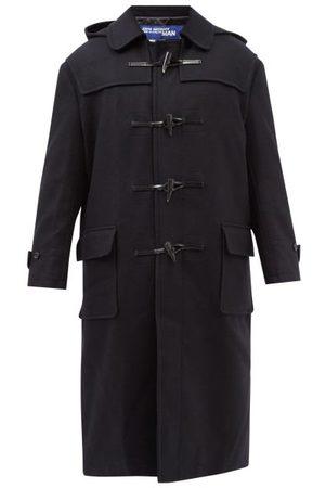 JUNYA WATANABE Men Duffle Coat - Fair Isle-jacquard Hooded Wool-melton Duffle Coat - Mens - Navy