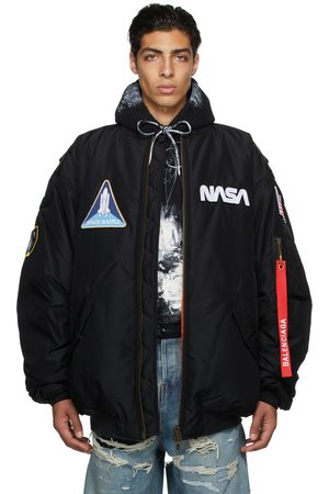 Balenciaga Men Bomber Jackets - Black Space Bomber Jacket